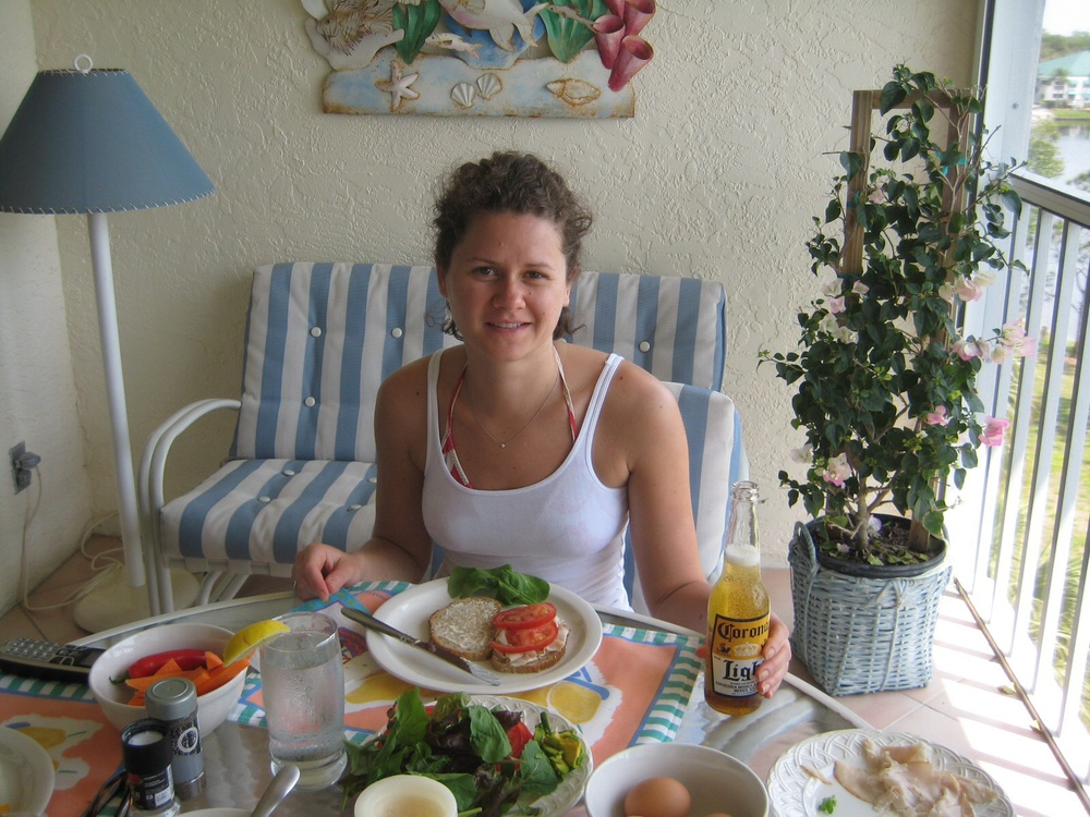 My sister enjoying lunch on the Lanai March 2010