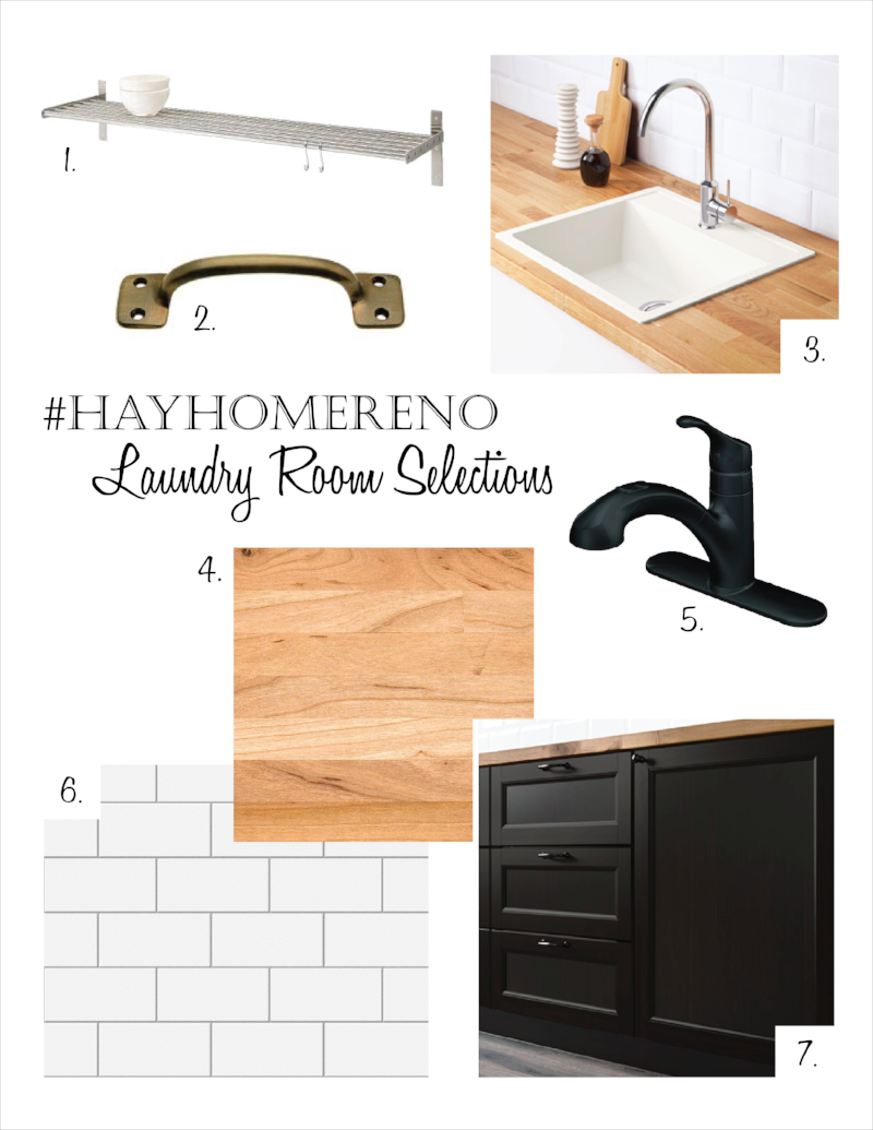 Shop the look below!  1. Shelf    2. Hardware   3. Laundry Basin   4. Countertop   5. Faucet   6. Backsplash Tile  7. Cabinets