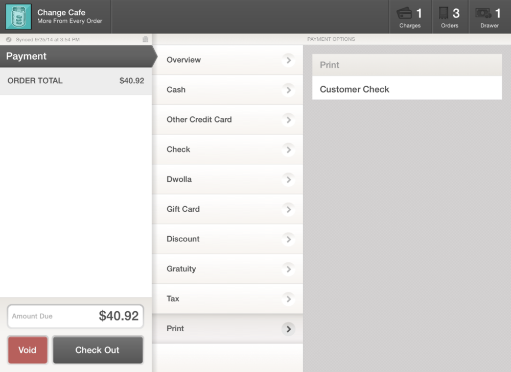 Print Customer Check Payment Screen