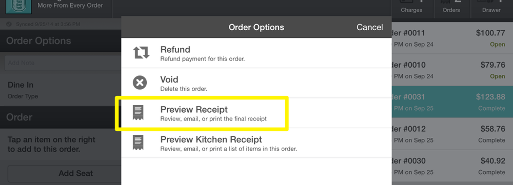 Order Options Preview Receipt