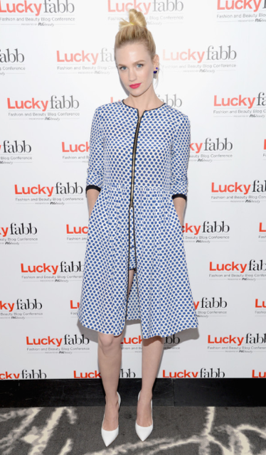 January Jones from Mad Men wearing our Schumacher SS14 polka for dress.