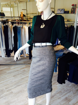 Longer lengths are back... Try this long and tapered mini stripe pencil skirt; pictured with a silk colorblocked blouse and short brushed silver pendant neck