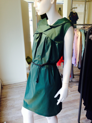 Green is not just for winter anymore. We love this perforated cotton drape neck shift dress tied at the waist. Light, springy and comfortable.