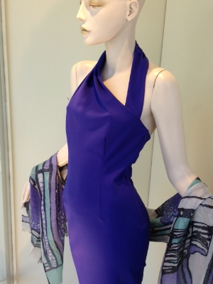 This plum neoprene pencil dress is all about the neckline; a modern take on a halter for a very sexy look.