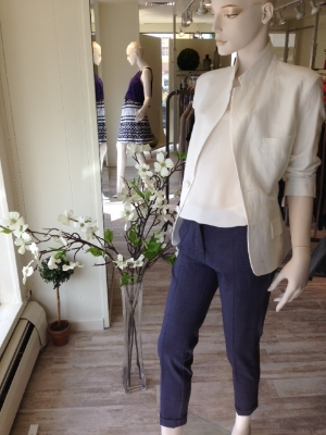 A white linen jacket is a must-have item for Spring/Summer.  We paired this beautiful notched collared linen jacket to a plum checked crop trouser and an easy white silk blouson shell.