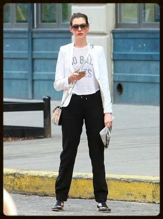 On August 18th, Anne Hathaway wore Schumacher black drawstring track pants in Brooklyn. Come into Latrice to find your own Schumacher favorites!