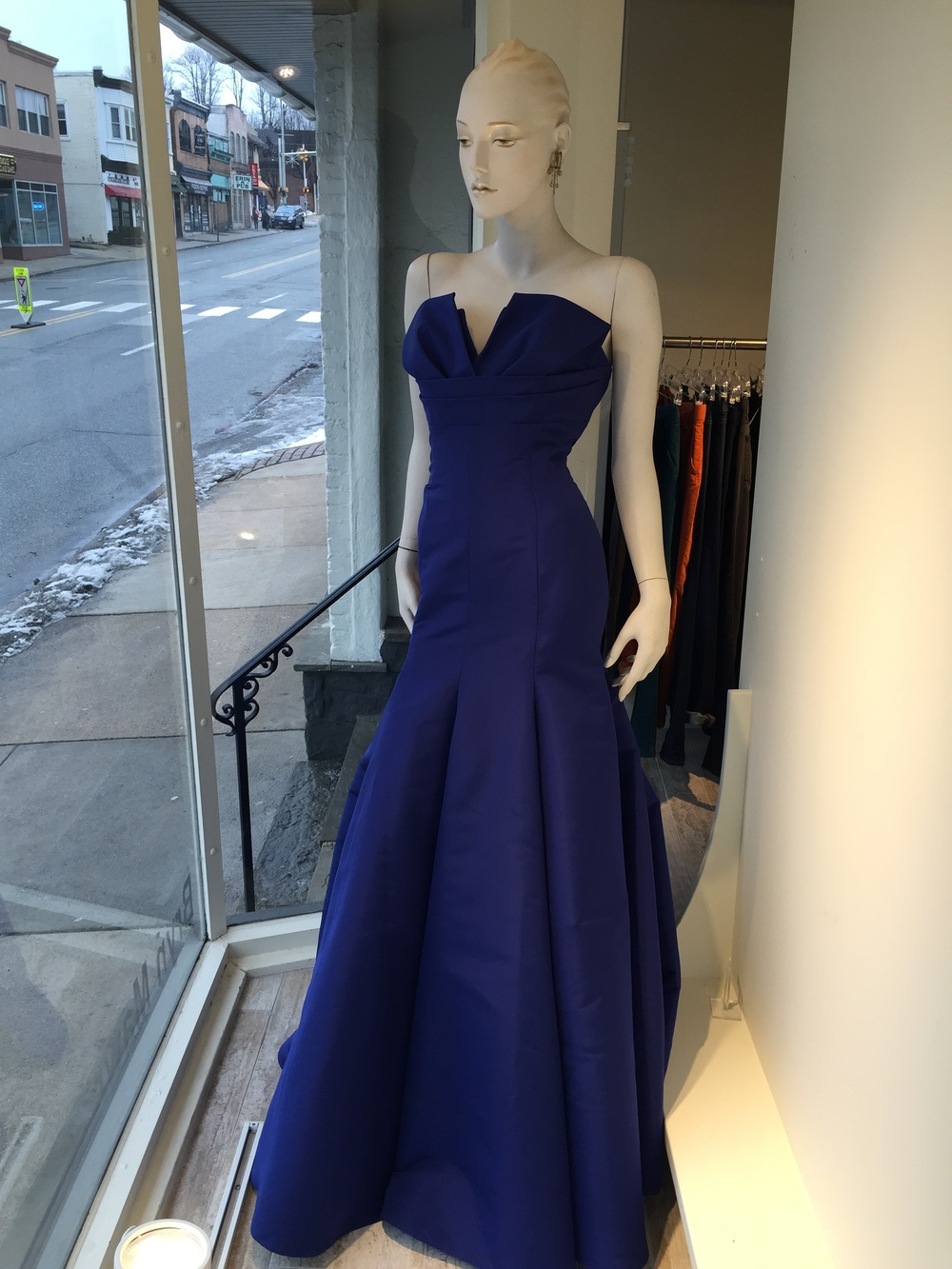 If you have an event, this silk faille evening gown is figure flattering and able to be customized for your specific needs.