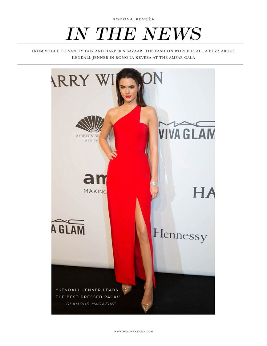 Kendall Jenner attends the amfAR gala wearing a bright cherry red Romona Keveza gown. Not only are we DYING over this color, but loving the high slit as well! Have a special event to attend? We carry Romona Keveza and many more fabulous designers. Stop in our Bryn Mawr store today!!