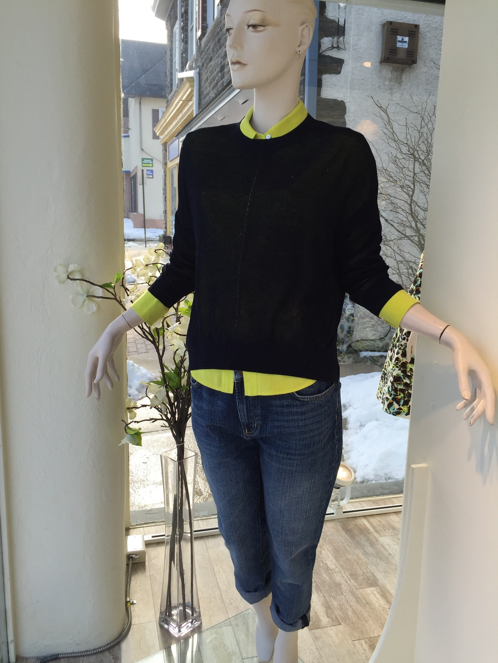 Demy Lee makes the perfect Spring/Summer weight sweater.  We layered this navy loose gage knit over a chartreuse silk shirting from Joseph and paired the two back to a boyfriend jean from By Malene Birger in a great medium wash.