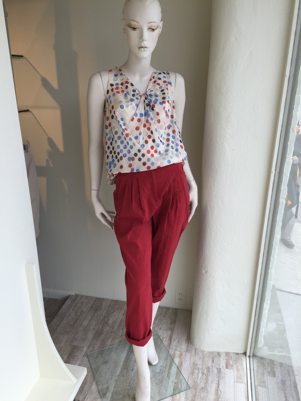 These red linen boyfriend pants from Lilith are amazing back to loose tees or little blouses like this vintage print, also from Lilith.