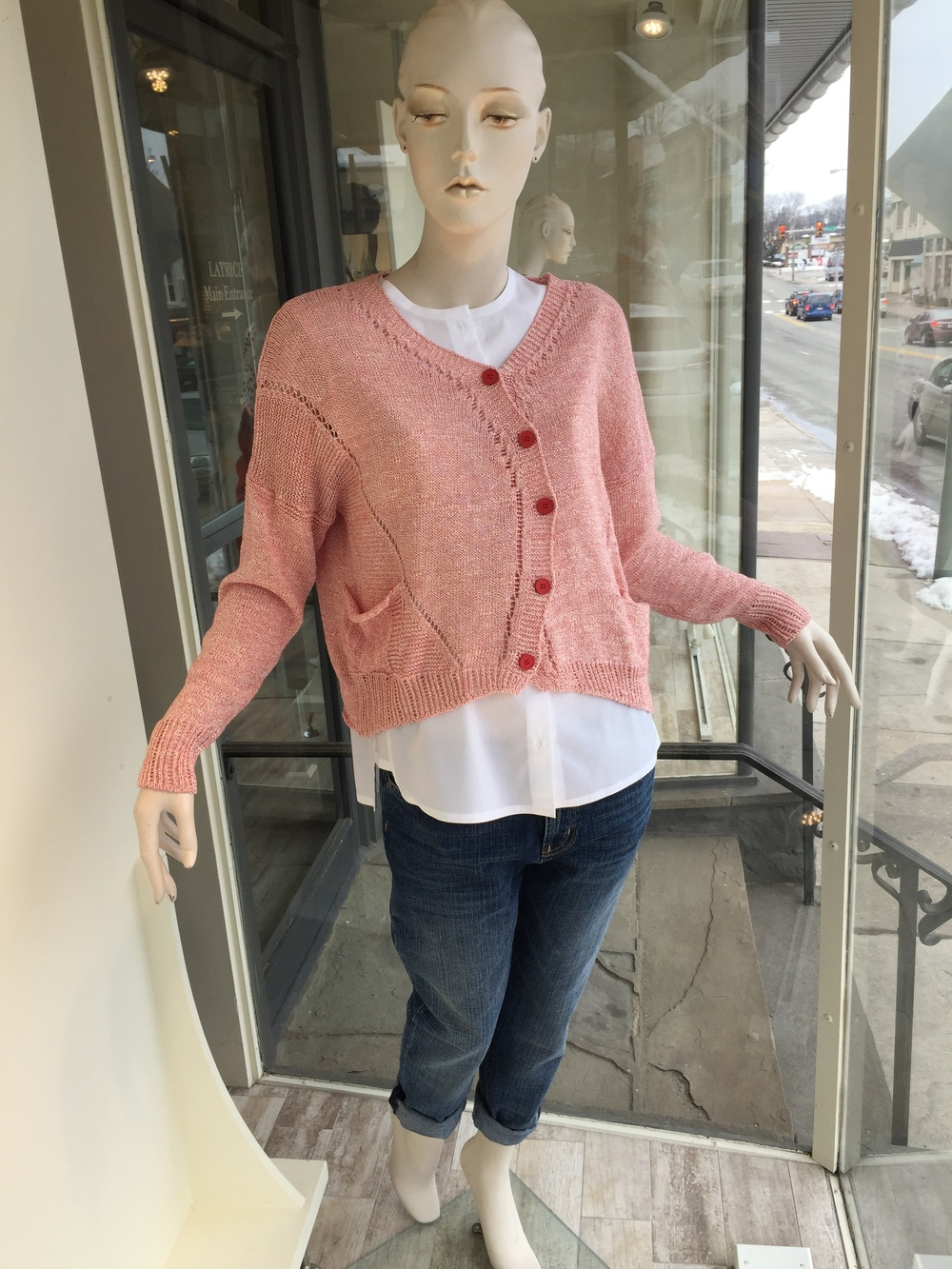 This off center cardigan is a great example of the interesting Spring knits we have in store from Lilith. We paired it backed to a collarless cotton shirt from Strenesse and a slouchy jean from J Brand.