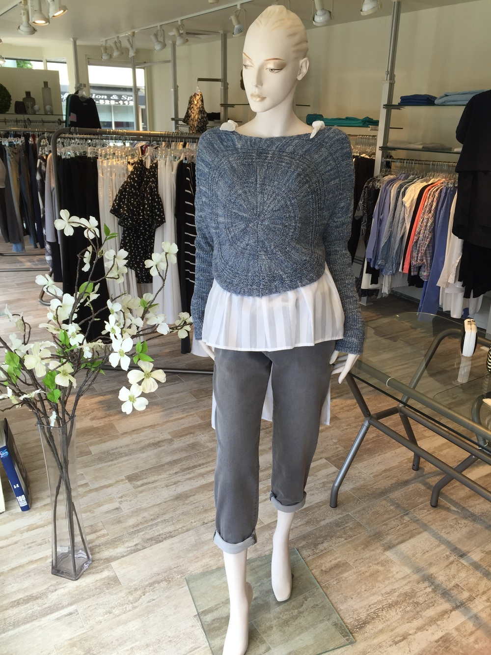 These grey slouchy pants from L'Agence have the look of a jean with the feel of a sweatpant.  We paired them back to a gorgeous circle knit crop sweater from Lilith, layered over a cotton shadow stripe hi/lo shirting from Litke.