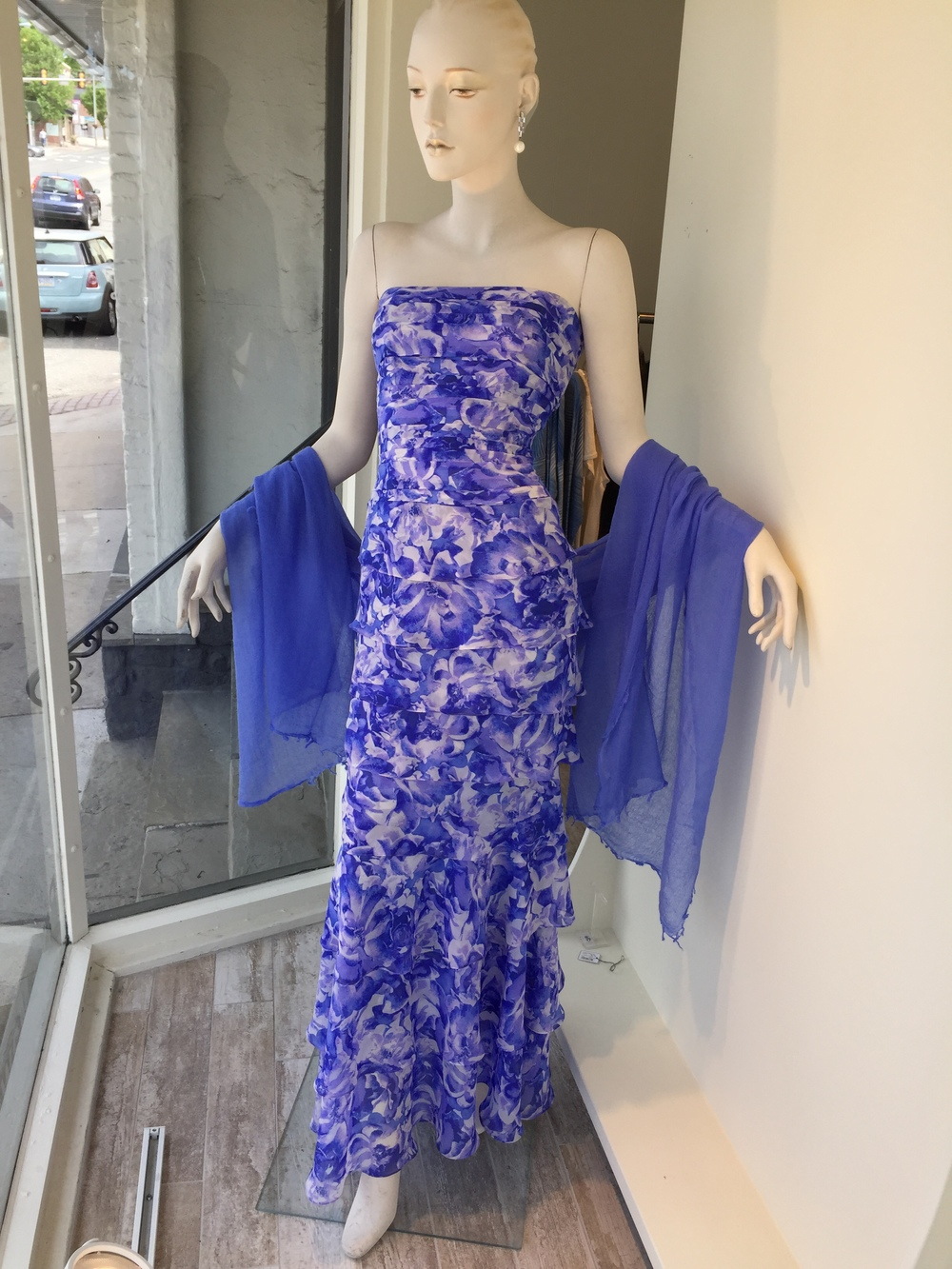 This is a Latrice classic gown, now offered in this gorgeous violet and lilac floral print silk chiffon.