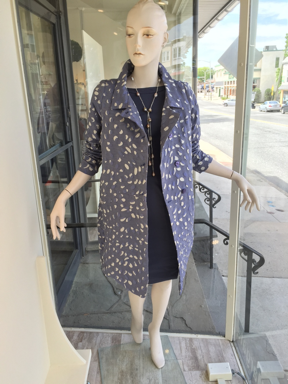 This is a gorgeous brocade coat from Lilith that acts as the perfect topper to this little cotton dress or even over jeans for a more casual look.  We also added a gorgeous single strand baroque pearl necklace from our Italian jewelry designer.