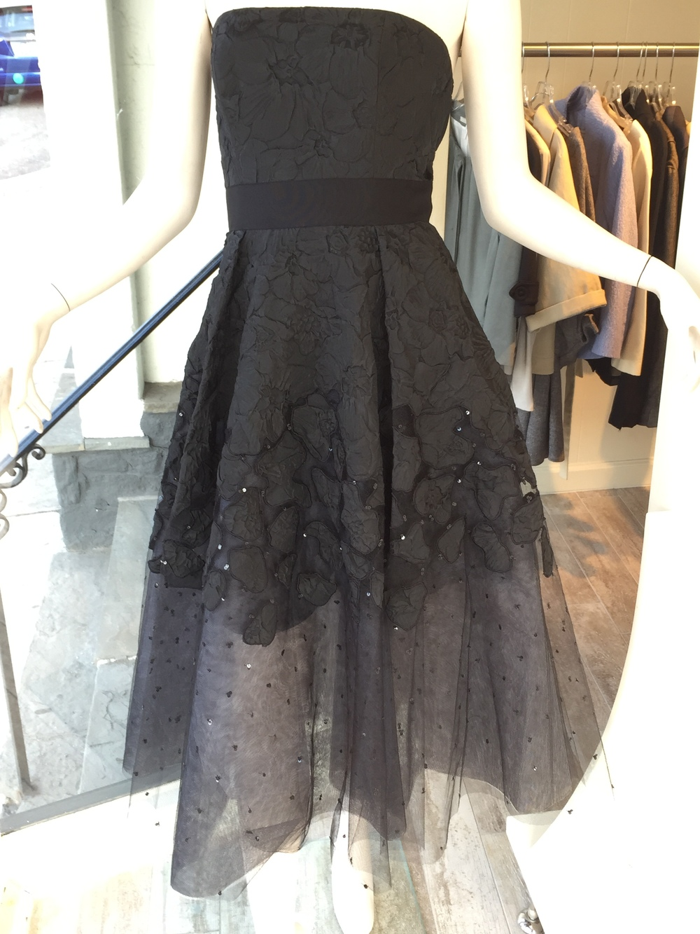 We had to take a close-up of this tea length tulle cocktail dress so the gorgeous fabric could truly be appreciated!