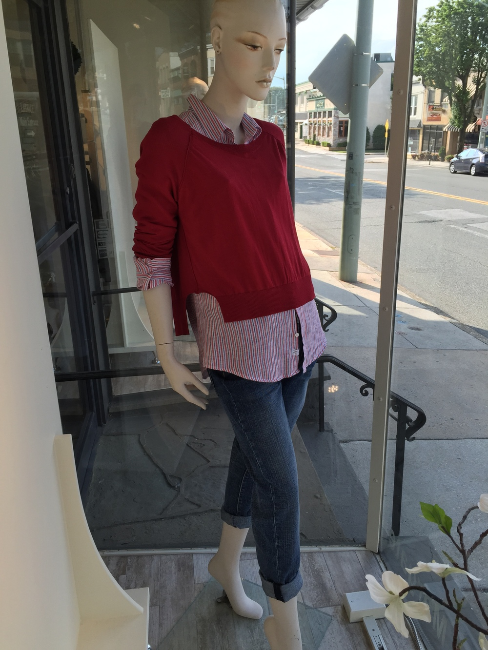 This split side crop sweater from Brochu Walker is lightweight enough to throw over a linen shirting as shown. We paired it back to a slouchy jean from J. Brand for a great, casual look.