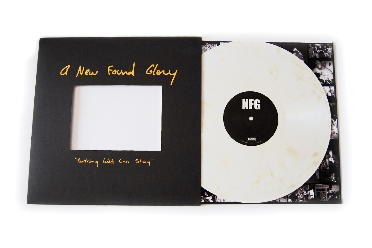 You can now preorder   New Found Glory  's  Nothing Gold Can Stay  repress from Shop Radio Cast  here .     This is an exclusive color combo to SRC and independent record shops. It  is true, SRC will be capped at a certain quantity and this will ship to  indie stores starting next Tuesday with a release date of 10/4 to save  you a trip when you are snagging Radio Surgery from the bin. The gold  version is only available at Hot Topic and Hottopic.com and will not be  repressed (1500 gold, 500 white/gold)