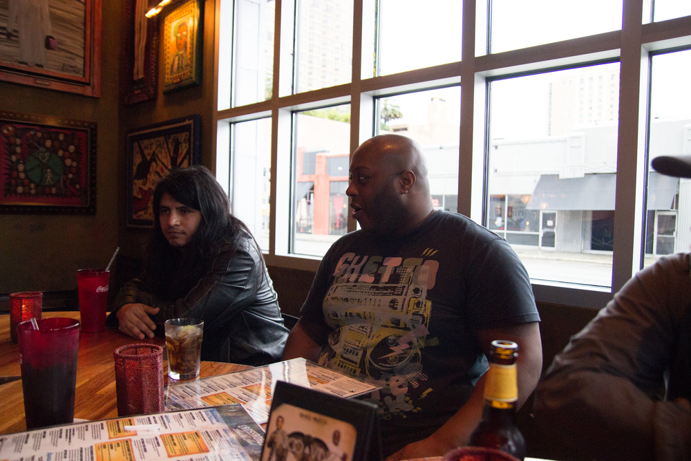 Otenki members German and Enoma having dinner.