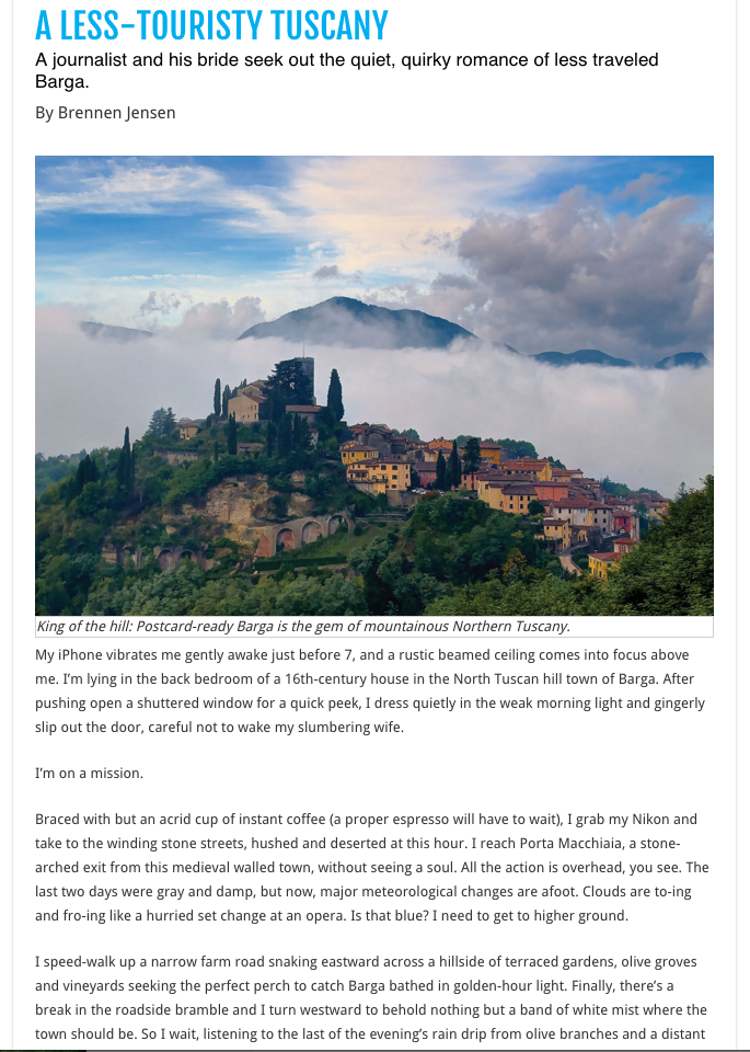 This photo I took of Barga became the jumping off point for my travel piece