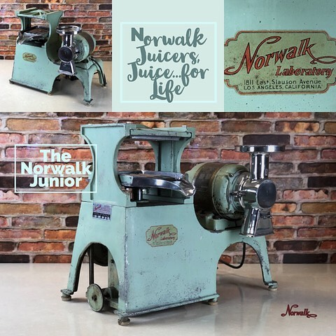 Norwalk junior. Only a handful of Norwalk Junior Models were built. This was Dr. Walkers first attempt at producing a smaller machine with a sealed hydraulic system. It was many years later before smaller, sealed units were put into production. #norwalkjuicers #norwalkjuicer #norwalk #juiceforlife