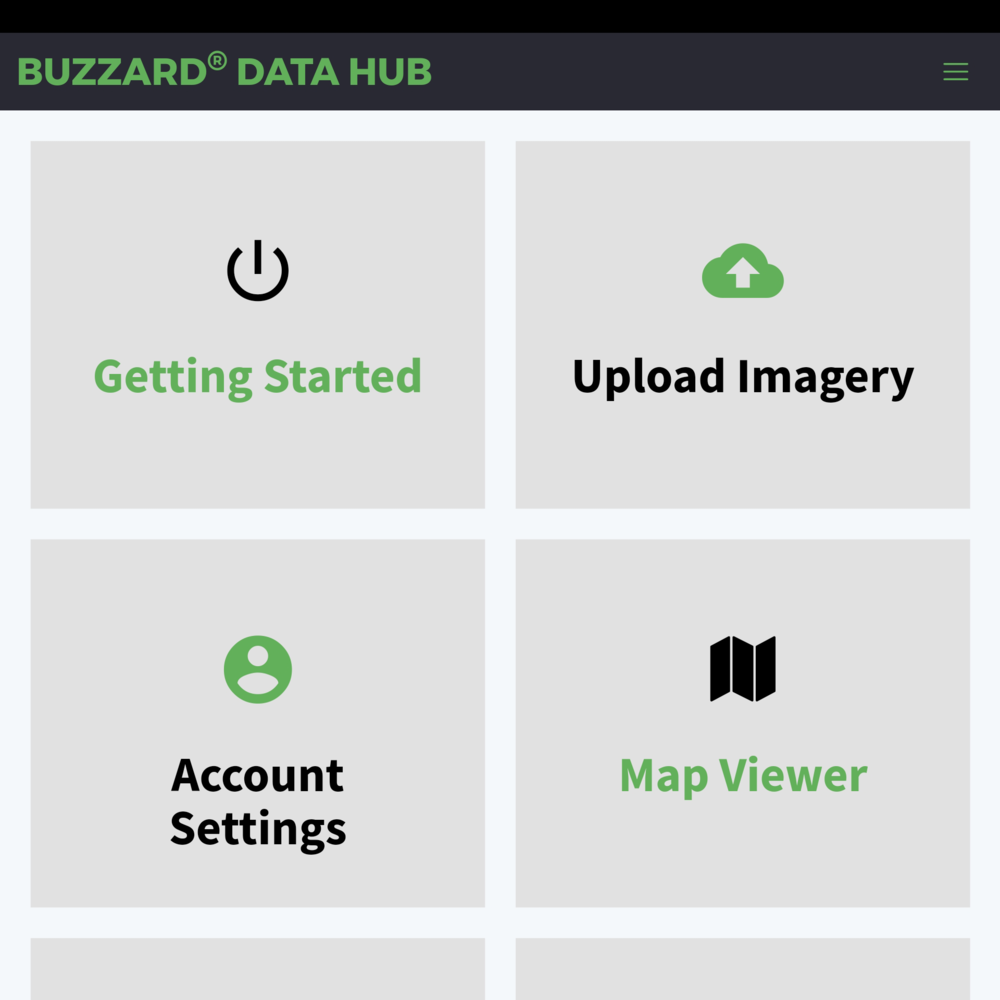 Buzzard Data Hub mobile view