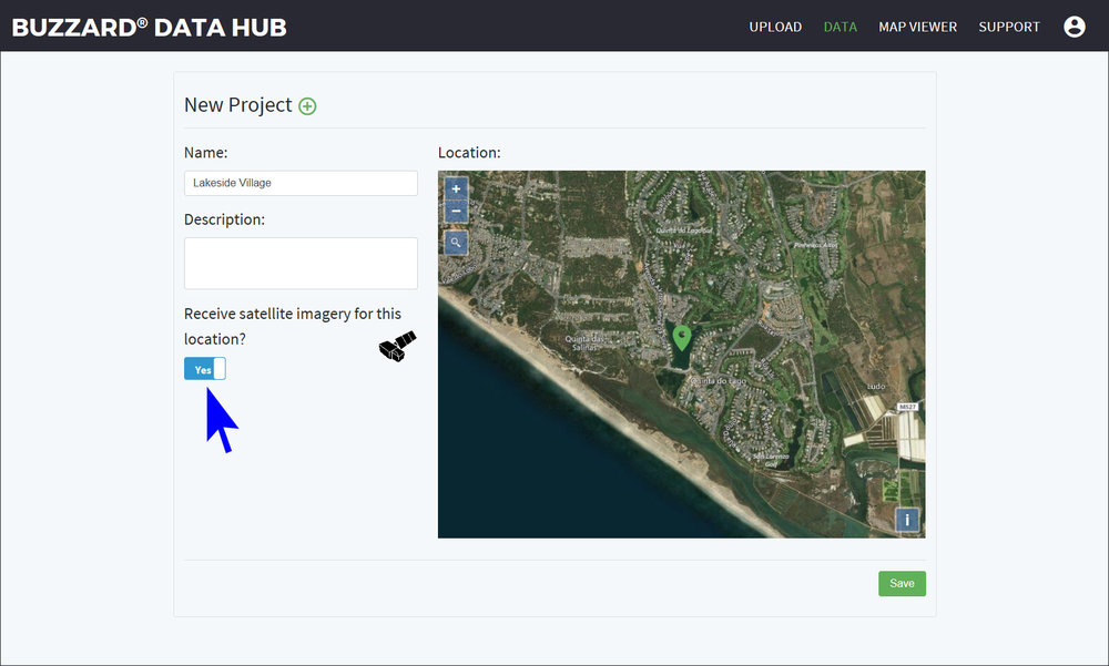 Buzzard Data Hub Select Location