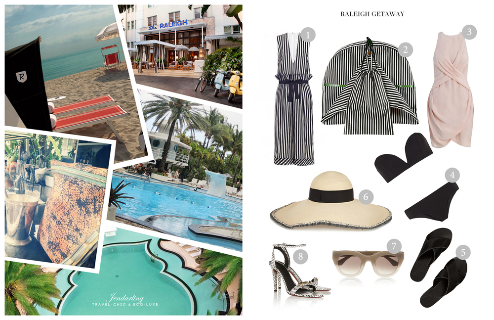 1.  Zimmerman    2.  Jendarling  Edie Garment bag   3.  Zimmerman Silk Drape Dress   4.  Zimmerman Sundown Curve Bikini  5.  Ancient Greek Sandals   6.  Eugenia Kim Sunny Toyo Wide-Brim Hat   7.  Thierry Lasry Deeply Acetate Cat-Eye Sunglasses   8.  Proenza Schouler Sandals