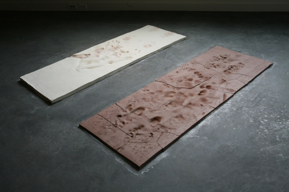 "Morning Ritual, unfired earthenware & porcelain, 66"" x 60"" x 1"", 2009"