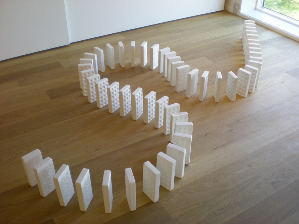 Mizaru, Kikazaru, Iwazaru, unfired porcelain, dimensions variable, 2010