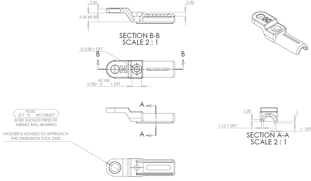 Excerpt from the engineering drawing for the ball bearing rod end joint.