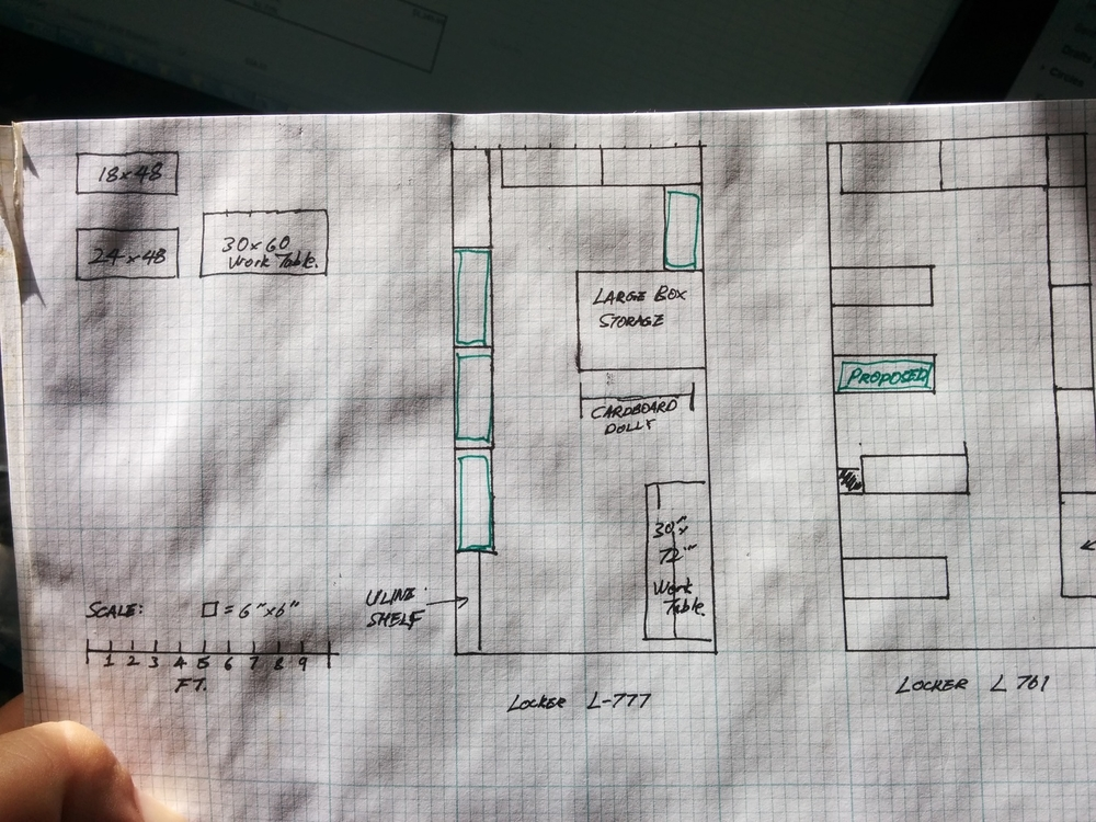 The magical locker layout bull print.  Sometimes it's just faster to sketch onto engineering grid paper.
