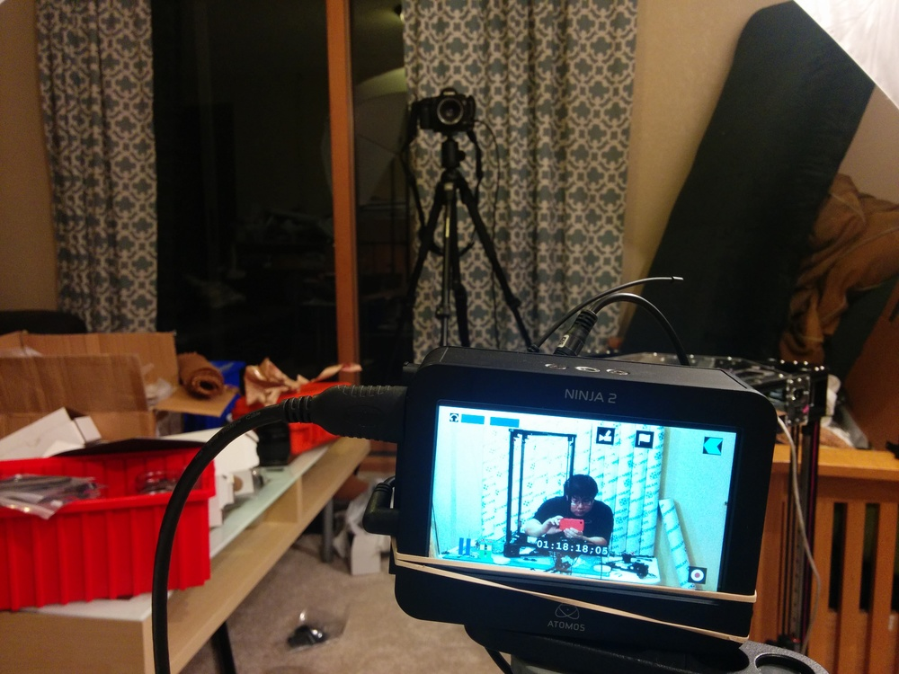 The Atomos Ninja in action; here, it's feeding from the camera across the room.