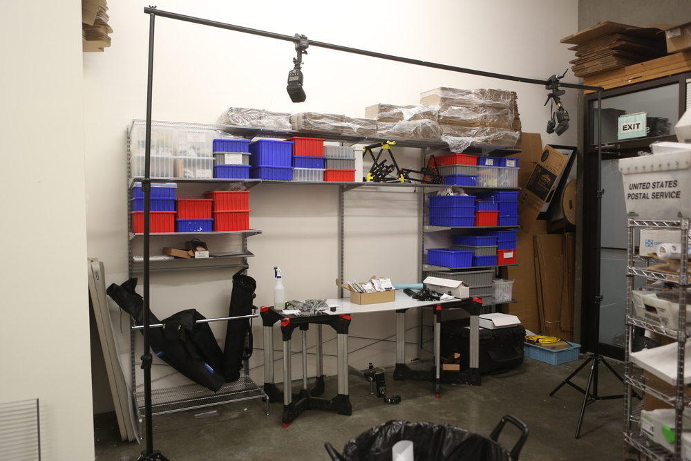 The photo studio, configured to shoot hi-key images for product catalog and documentation.