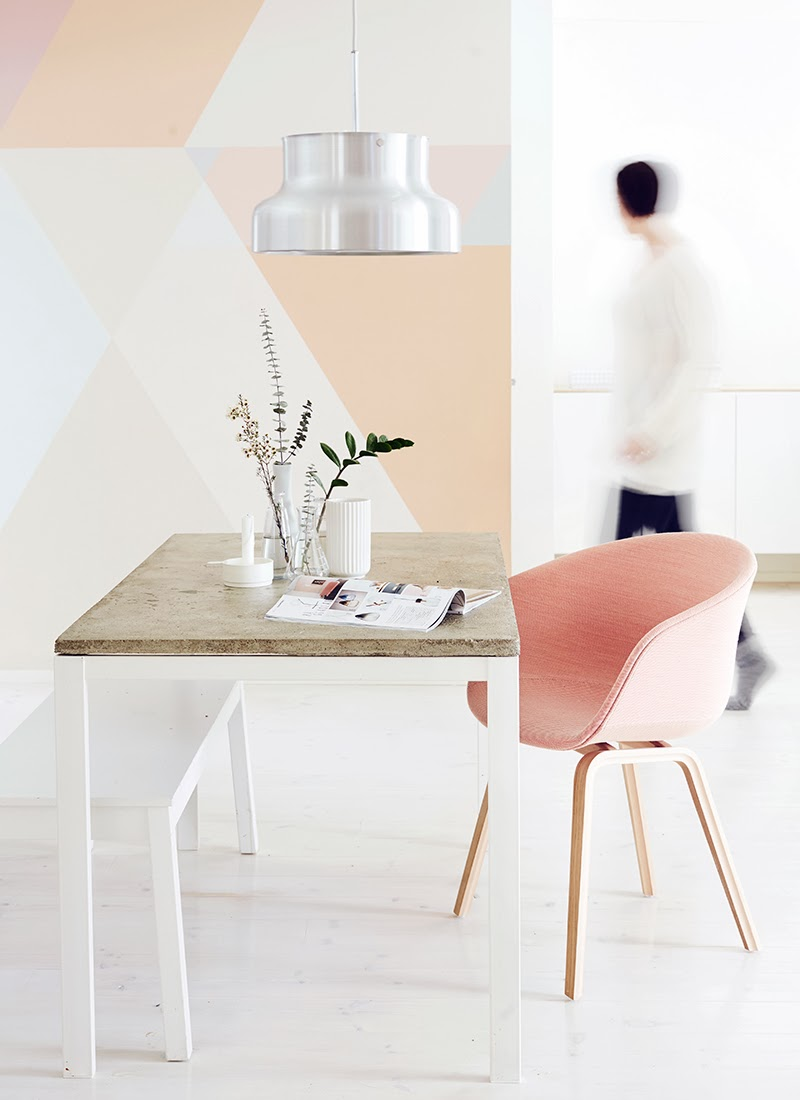 Peach geometric wall