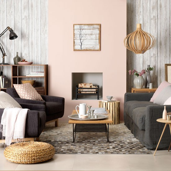 weathered wood living room peach