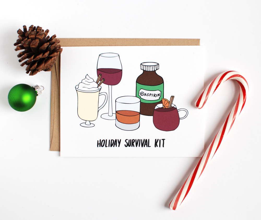 Holiday Survival Kit Christmas Card
