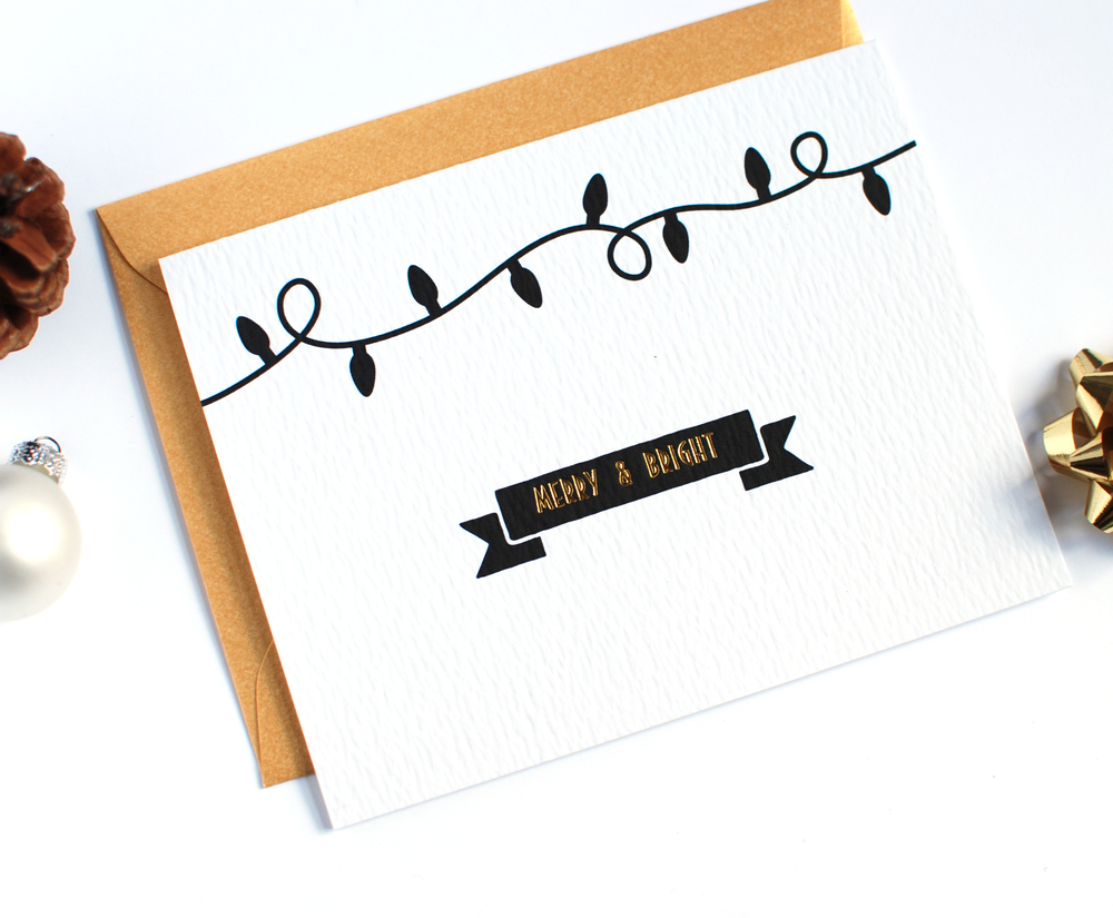 merry and bright gold foil christmas card