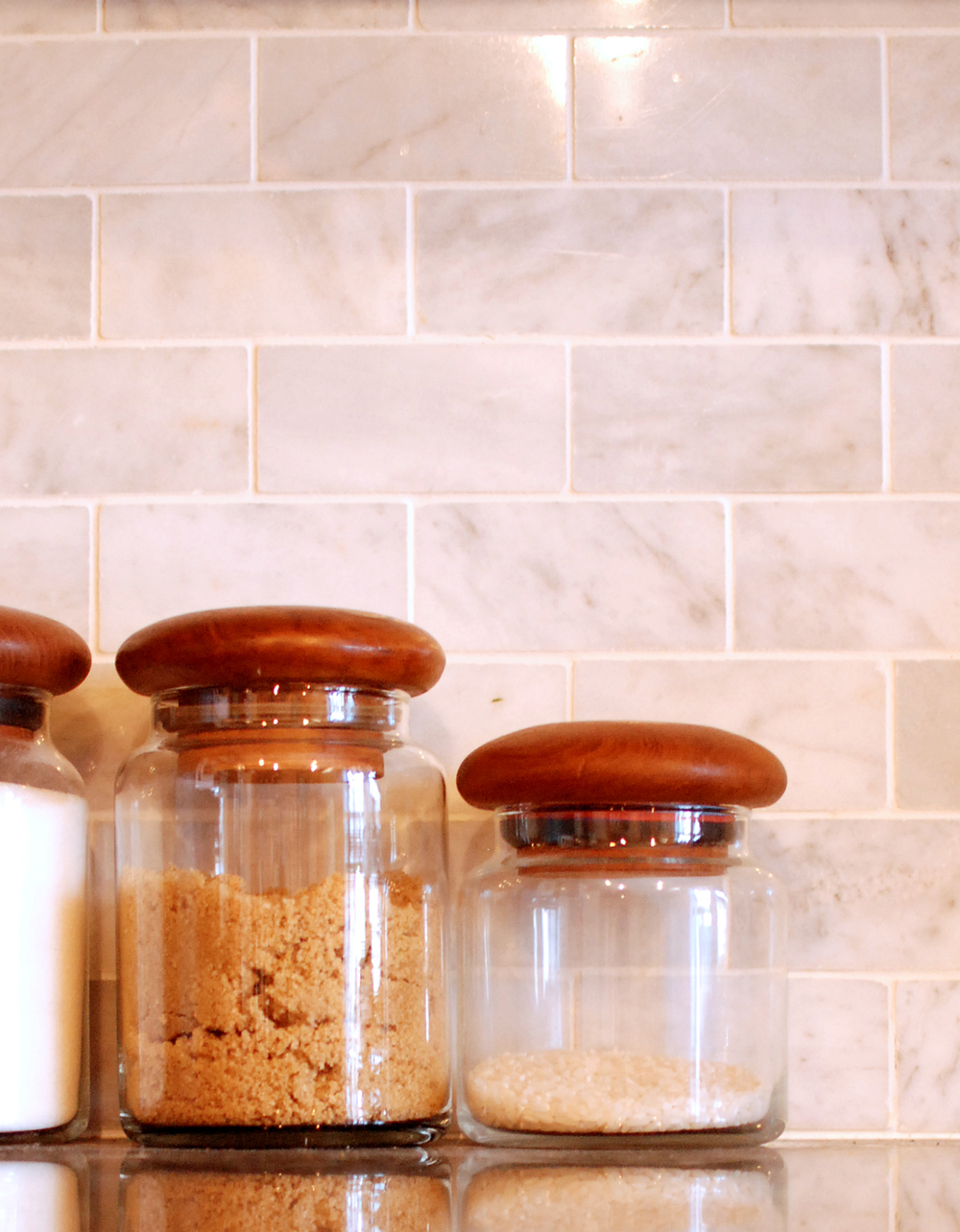 Mid Century Teak and Glass Canisters