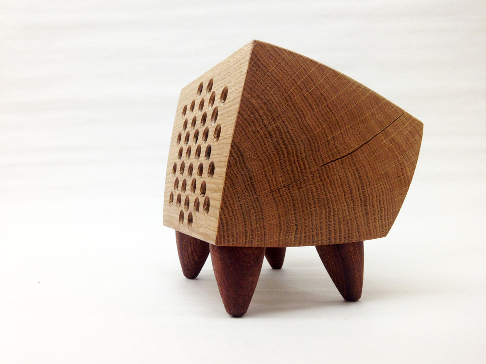 "Sound Box Furniture / White Oak, Sapele / 5"" x 5"" x 6"" / 2013 / $250   Currently A vailable  in Center for Art in Wood Museum Store"
