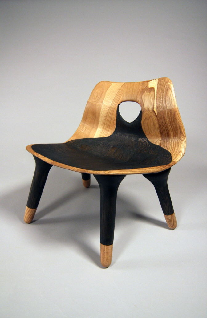 "Black Hole Chair / Oak, Milk Paint / 25"" x 27"" x 21"" / 2015 / $3,500"