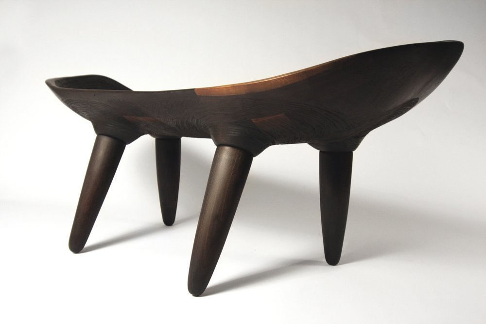 "Wood Ears Bench  / Walnut / 50"" x 24"" x 26"" / 2017 / SOLD / Commission Available"