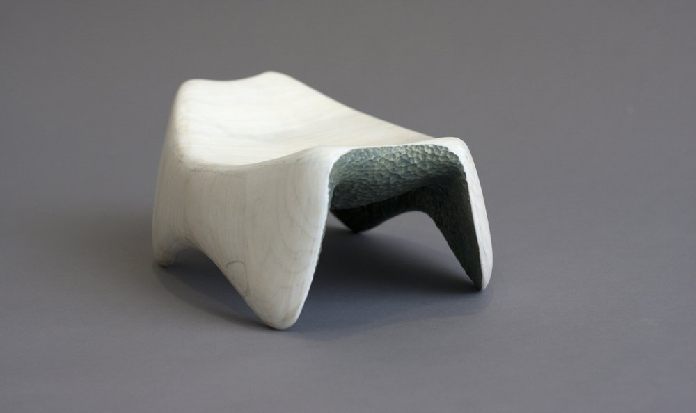 "Headrest  / Poplar, Milk paint / 9""W x 12""L x 4""H / 2013  SOLD"