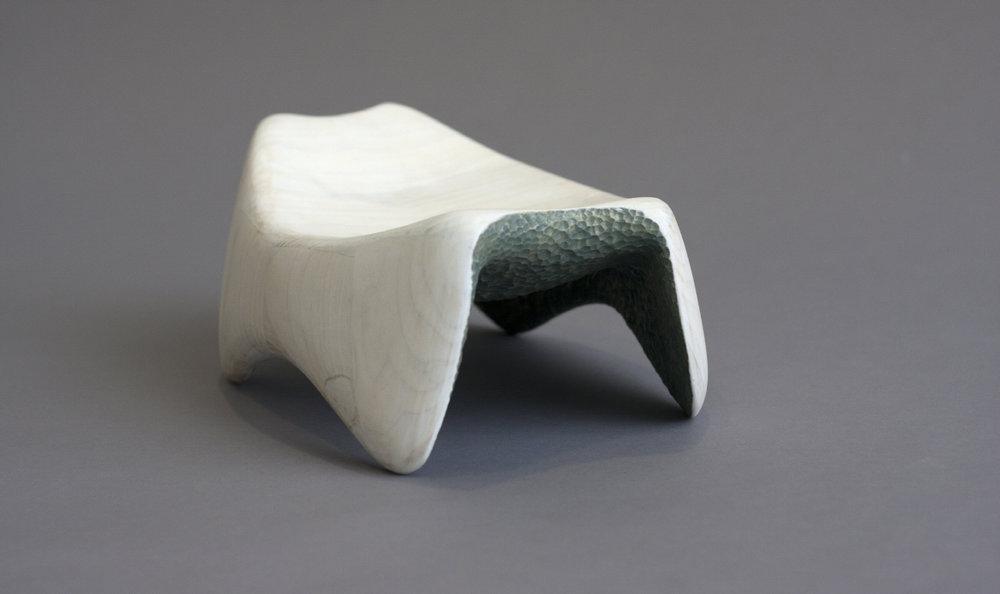 """Headrest  / Poplar, Milk paint /9""""W x 12""""L x 4""""H / 2013"""