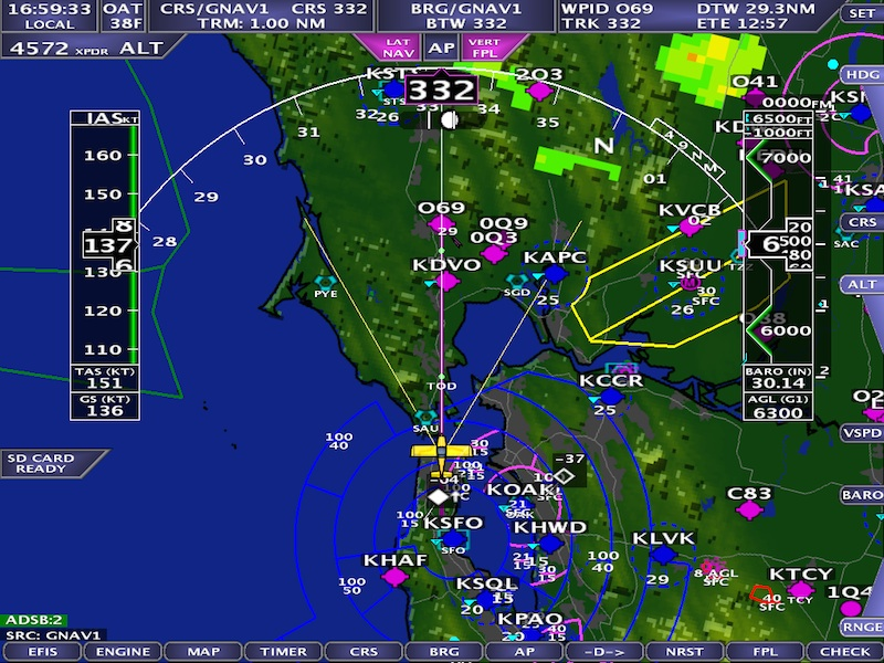 Screen shot of ADS-B weather and traffic on an AFS 5000 series EFIS