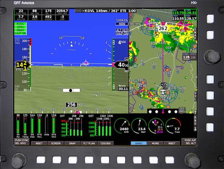 ADS-B weather and traffic on a GRT HXr EFIS