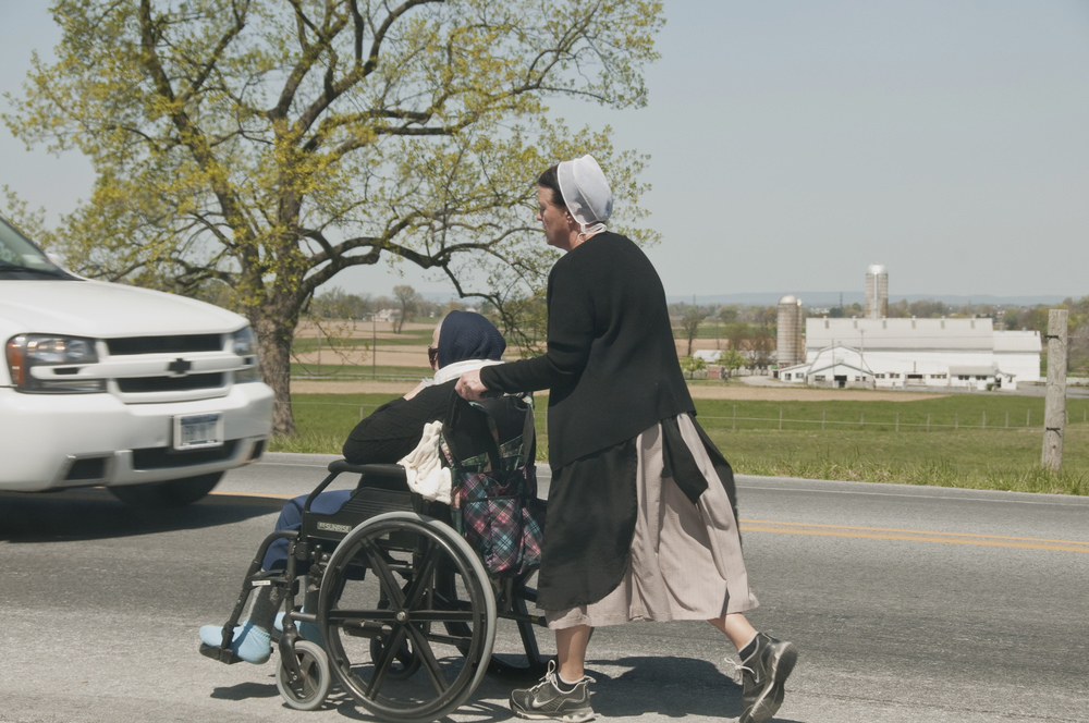 Amish lady with wheelchair