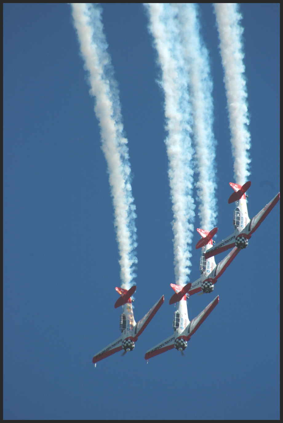 Aerobatic display straight down