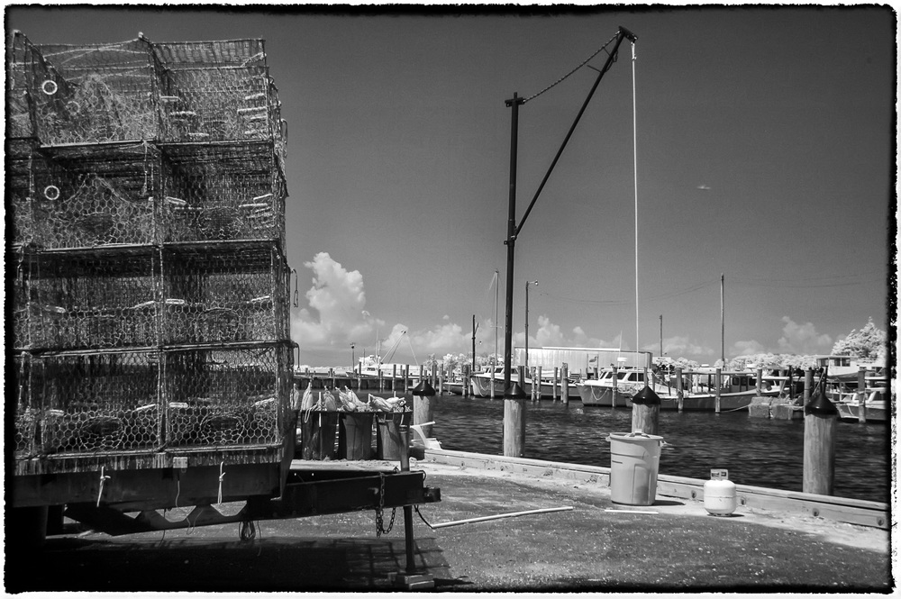 Infrared of crab pots and boats