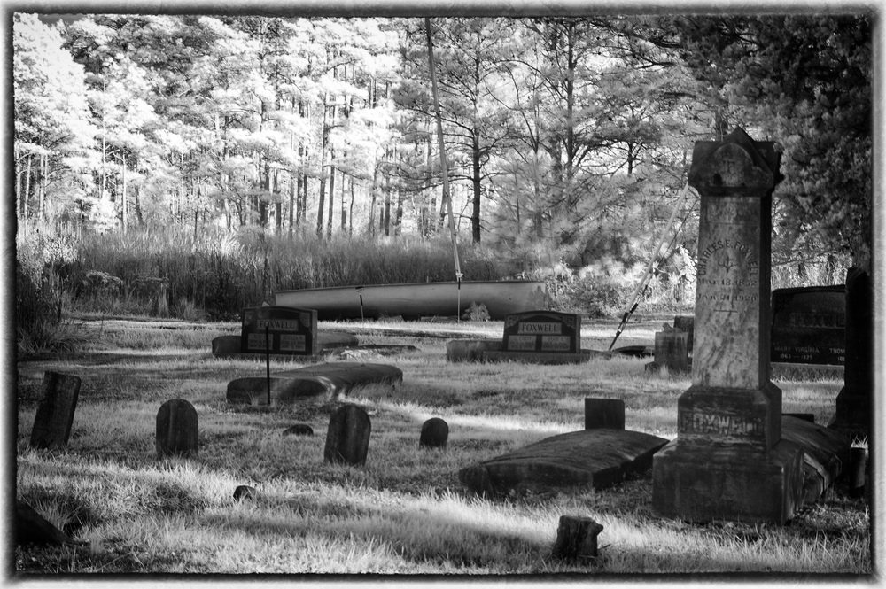 Infrared graveyard and boat on Hoopers Island