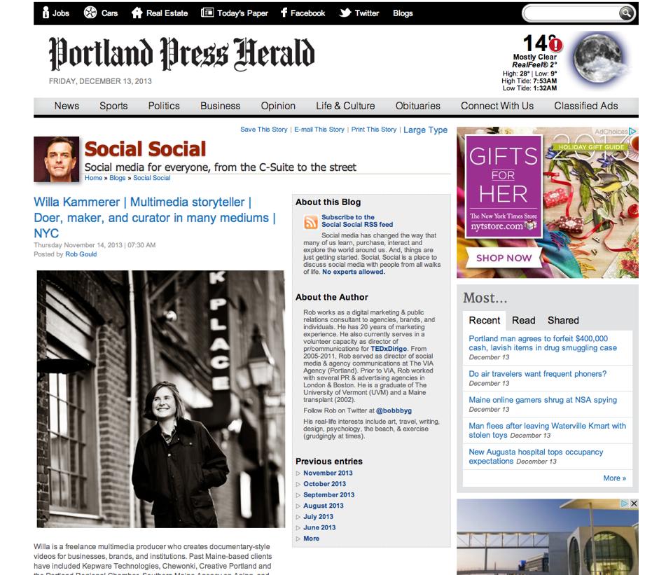 Willa Kammerer | Multimedia storyteller | Doer, maker, and curator in many mediums | NYC | The Portland Press Herald _ Maine Sunday Telegram.jpg